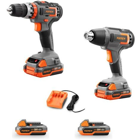 FUXTEC 20V cordless impact drill/driver and heat gun - Bundle incl. 2 batteries (2x 2Ah) and charger (1A)