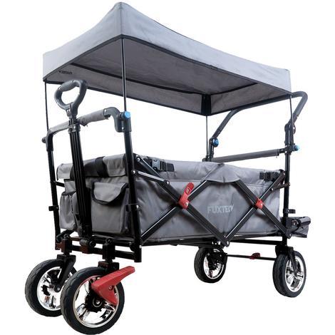FUXTEC Bollerwagen FX-CT800 mit UV-geschütztem Sonnendach,Schiebegriff & Innenraumverlängerung GRAU