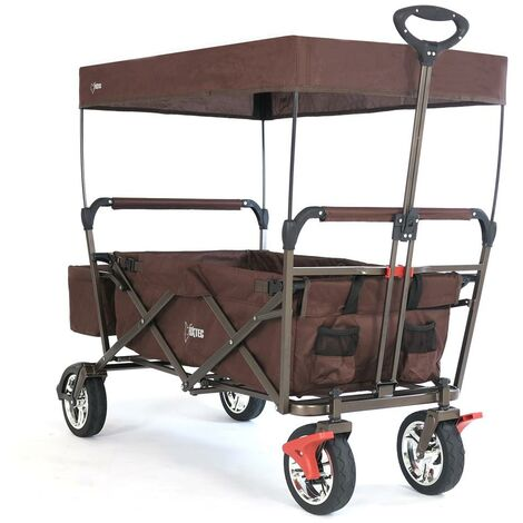 FUXTEC Folding Wagon / Foldable Wagon / Trolley / Hand Cart CT-500 BROWN