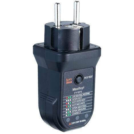 Fuyi Avancee Rcd Electrique Testeur De Prise Automatique Neutre Terre Vivante Fil Electrique Du Circuit Polarites Detecteur Electrique Essai D'Etancheite Instrument Fy1873 Noir