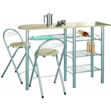 G-0077-Modern Breakfast Bar Table Set Stools Storage Shelves Wine Rack Kitchen
