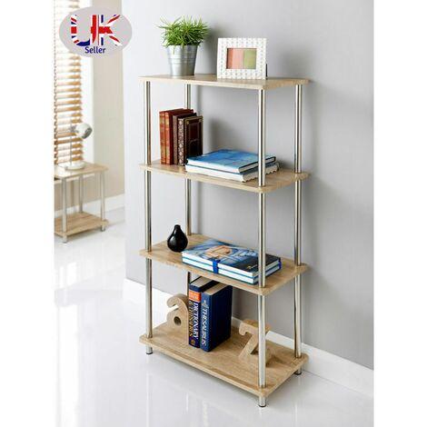 G-0122-Stylish Oak Effect 4 Tier Shelf Unit Oak Shelves, Stainless Steel Legs