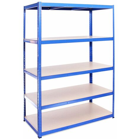 G-Rack Extra Deep Shelving Unit: 180 x 120 x 60cm - 1 Bay, Blue 5 Tier, 875KG Capacity