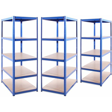 G-Rack Extra Deep Shelving Unit: 180 x 120 x 60cm - 3 Bay, Blue 5 Tier, 875KG Capacity