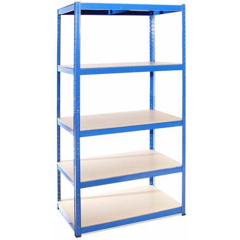 G-Rack Extra Deep Shelving Unit: 180 x 90 x 60cm - 1 Bay, Blue 5 Tier, 875KG Capacity