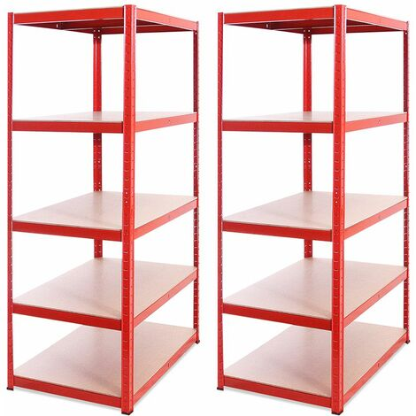 G-Rack Extra Deep Shelving Unit: 180 x 90 x 60cm - 2 Bay, Red 5 Tier, 1325KG Capacity