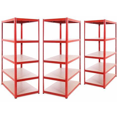 G-Rack Extra Deep Shelving Unit: 180 x 90 x 60cm - 3 Bay, Red 5 Tier, 1325KG Capacity