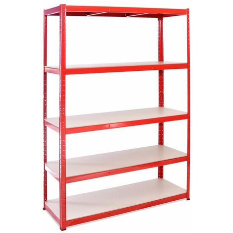 G-Rack Heavy Duty Racking Shelves: 180cm x 120cm x 45cm - 1 Pack, Red 5 Tier, 1325KG Capacity