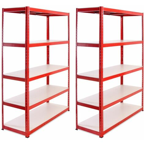 G-Rack Heavy Duty Racking Shelves: 180cm x 120cm x 45cm - 2 Pack, Red 5 Tier, 1325KG Capacity