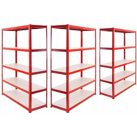 G-Rack Heavy Duty Racking Shelves: 180cm x 120cm x 45cm - 3 Pack, Red 5 Tier, 1325KG Capacity