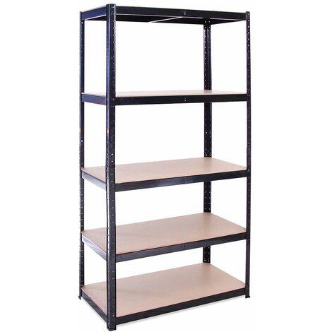 G-Rack Heavy Duty Racking Shelves: 180cm x 90cm x 45cm - 1 Pack, Black 5 Tier, 875KG Capacity