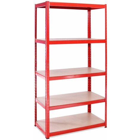 G-Rack Heavy Duty Racking Shelves: 180cm x 90cm x 45cm - 1 Pack, Red 5 Tier, 1325KG Capacity