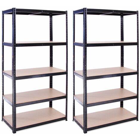 G-Rack Heavy Duty Racking Shelves: 180cm x 90cm x 45cm - 2 Pack, Black 5 Tier, 875KG Capacity