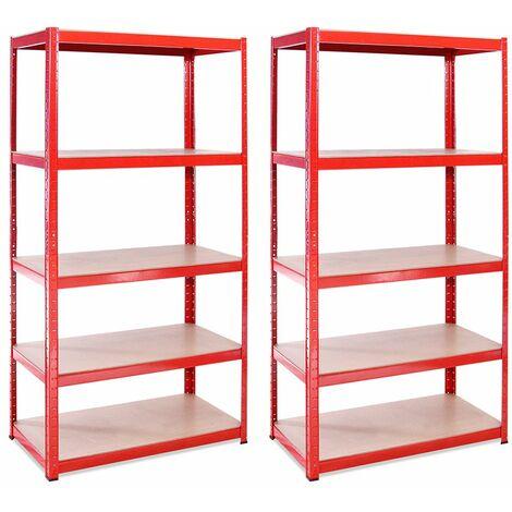 G-Rack Heavy Duty Racking Shelves: 180cm x 90cm x 45cm - 2 Pack, Red 5 Tier, 1325KG Capacity