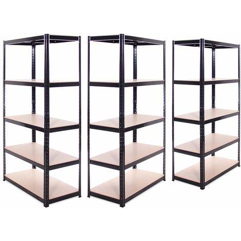 G-Rack Heavy Duty Racking Shelves: 180cm x 90cm x 45cm - 3 Pack, Black 5 Tier, 875KG Capacity