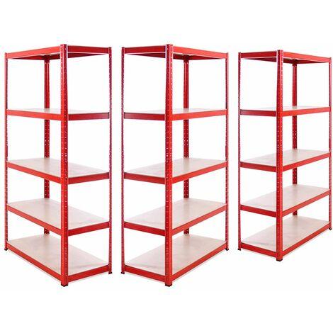 G-Rack Heavy Duty Racking Shelves: 180cm x 90cm x 45cm - 3 Pack, Red 5 Tier, 1325KG Capacity