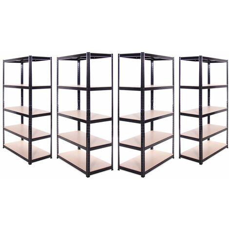 G-Rack Heavy Duty Racking Shelves: 180cm x 90cm x 45cm - 4 Pack, Black 5 Tier, 875KG Capacity