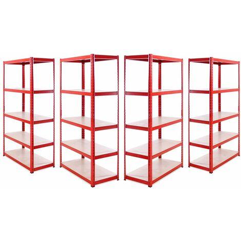 G-Rack Heavy Duty Racking Shelves: 180cm x 90cm x 45cm - 4 Pack, Red 5 Tier, 1325KG Capacity
