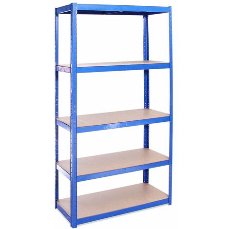 G-Rack Shelving Units: 180cm x 90cm x 40cm - 1 Pack, Blue 5 Tier, 875KG Capacity