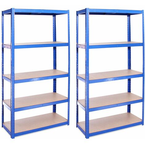 G-Rack Shelving Units: 180cm x 90cm x 40cm - 2 Pack, Blue 5 Tier, 875KG Capacity