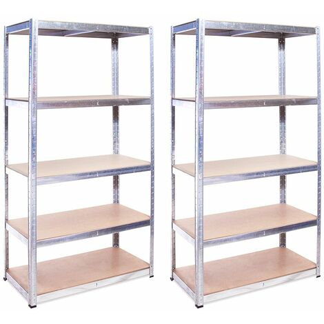 G-Rack Shelving Units: 180cm x 90cm x 40cm - 2 Pack, Galvanised 5 Tier, 875KG Capacity