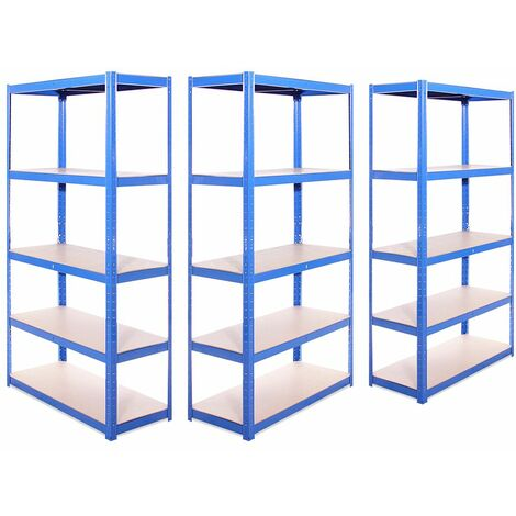 G-Rack Shelving Units: 180cm x 90cm x 40cm - 3 Pack, Blue 5 Tier, 875KG Capacity