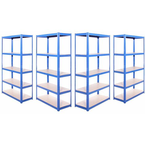 G-Rack Shelving Units: 180cm x 90cm x 40cm - 4 Pack, Blue 5 Tier, 875KG Capacity