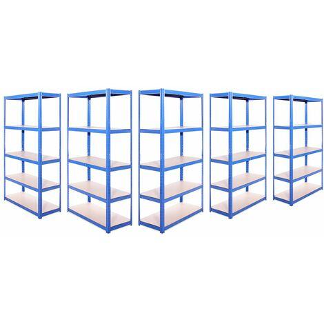 G-Rack Shelving Units: 180cm x 90cm x 40cm - 5 Pack, Blue 5 Tier, 875KG Capacity