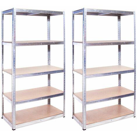 G-Rack Shelving Units: 180cm x 90cm x 45cm - 2 Pack, Galvanised 5 Tier, 875KG Capacity