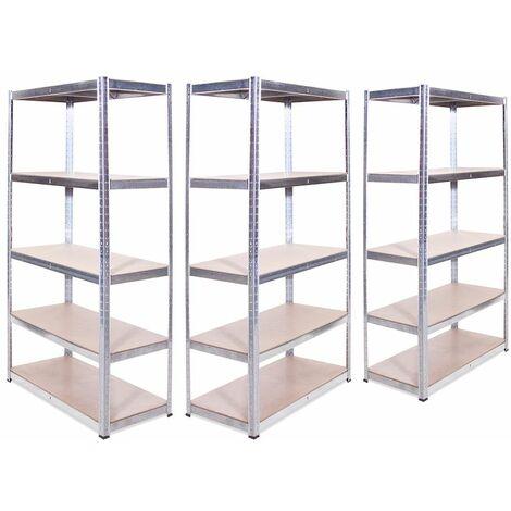 G-Rack Shelving Units: 180cm x 90cm x 45cm - 3 Pack, Galvanised 5 Tier, 875KG Capacity