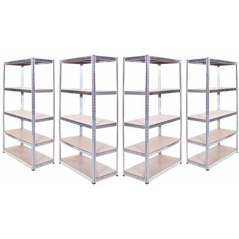 G-Rack Shelving Units: 180cm x 90cm x 45cm - 4 Pack, Galvanised 5 Tier, 875KG Capacity
