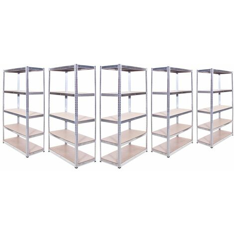 G-Rack Shelving Units: 180cm x 90cm x 45cm - 5 Pack, Galvanised 5 Tier, 875KG Capacity