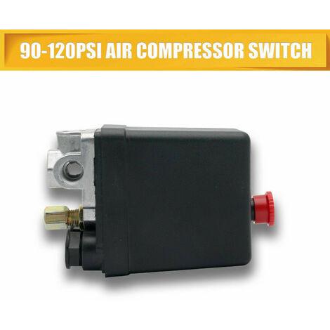 """G1 / 4""""Pressostat, 240V Triphasé 4 Trous Verticale Vanne de Commande Pressostat pour Compresseur d'Air,Pressostat Compresseur Interrupteur Régulateur de Pression 12 bar 1 Port"""