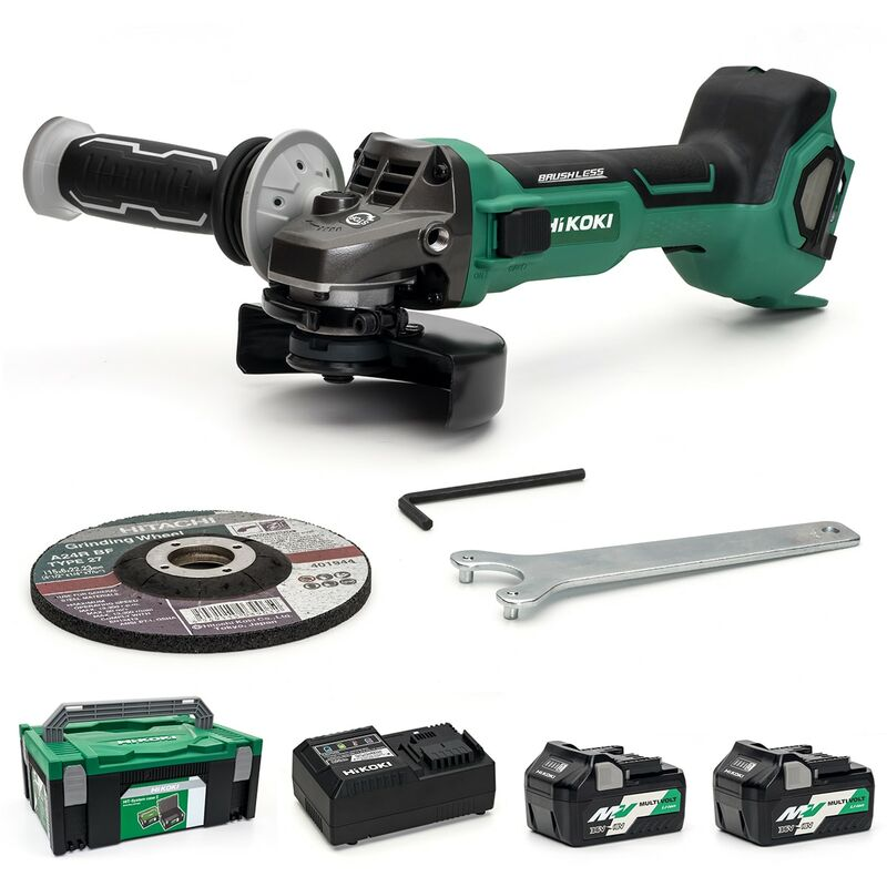 Image of Hikoki/hitachi Power Tools Uk - HiKOKI G3612DA/JRZ - 115mm MultiVolt Angle Grinder With Side Switch - 2 X 5.0Ah Kit - G3612DA/JRZ