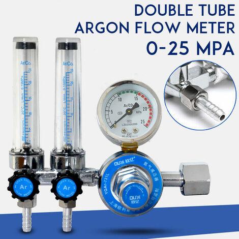 G5 / 8 Argon CO2 Gas Mig Tig Medidor de flujo Regulador de soldadura Soldador de calibre 0-25MPa (Medidor de flujo de argón de doble tubo)