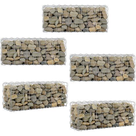 Gabbione Sassi per Giardino 100 x 40 x 30 cm Set di 5 Pezzi Cestino Pietre Acciaio Zincato Grigio