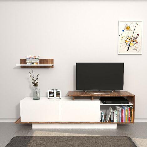 Gabinete de TV Martin - con puertas, Estanterias - Salon - con cajones, Estanterias - Oficina, Estudio, Habitacion - con cajones, Estanterias - Salon Blanco, Madera en Aglomerado de melamina, 180 x 30 x 53,2 cm