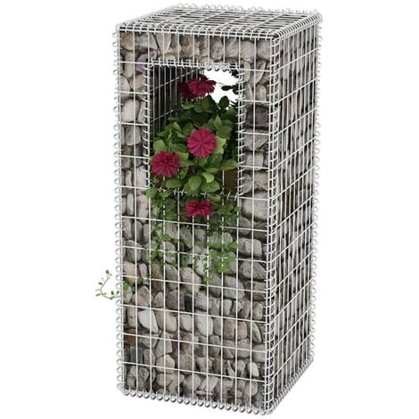 Gabion Basket Post/Planter Steel 50x50x120 cm - Silver