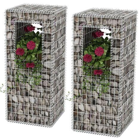 Gabion Basket Posts/Planters 2 pcs Steel 50x50x120 cm - Silver