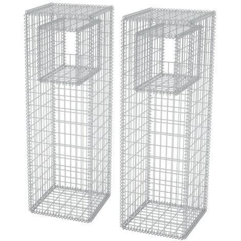 Gabion Basket Posts/Planters 2 pcs Steel 50x50x160 cm