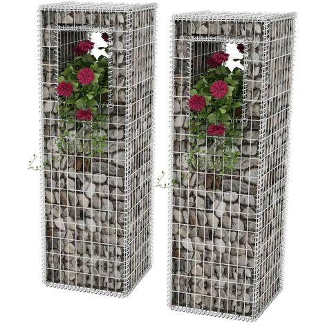 Gabion Basket Posts/Planters 2 pcs Steel 50x50x160 cm - Silver