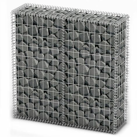 Gabion Basket with Lids Galvanised Wire 100 x 100 x 30 cm