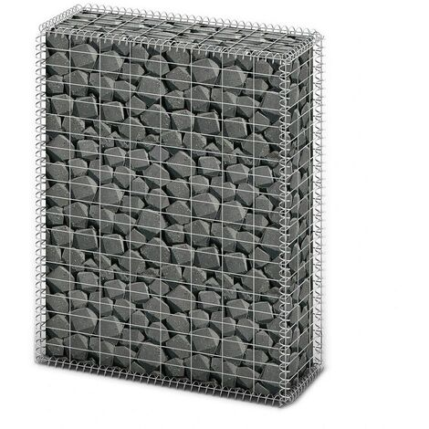 Gabion Basket with Lids Galvanised Wire 100 x 80 x 30 cm
