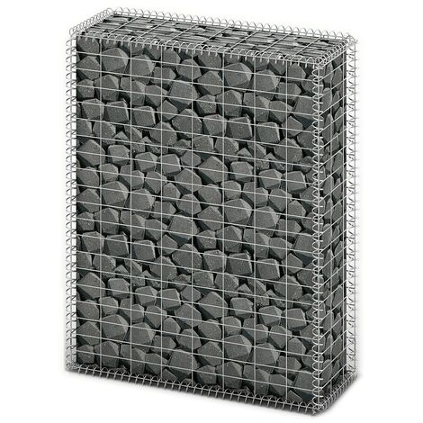 Gabion Basket with Lids Galvanised Wire 100 x 80 x 30 cm - Silver