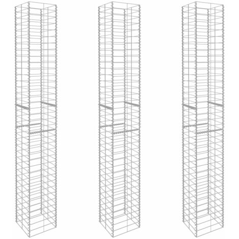 Gabion Baskets 3 pcs Galvanised Steel 25x25x197 cm