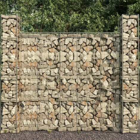 Gabion Baskets 3 pcs Galvanised Steel 25x25x197 cm - Silver