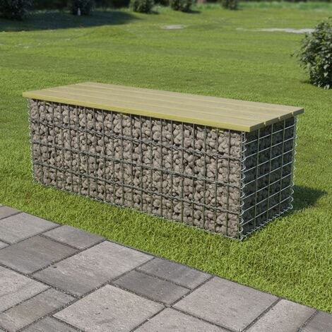 Gabion Bench 120 cm Galvanised Steel and Pinewood