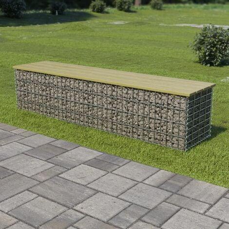 Gabion Bench 170 cm Galvanised Steel and Pinewood - Green