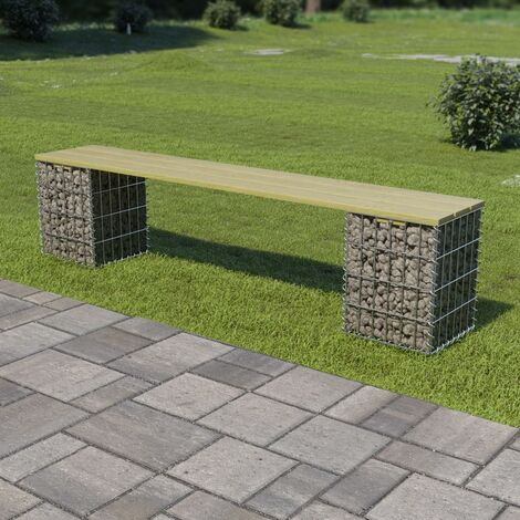 Gabion Bench 180 cm Galvanised Steel and Pinewood - Green