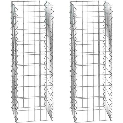Gabion colonne 100cm 2x gabions 4 angles 30x30cm panier pierre gabions colonne